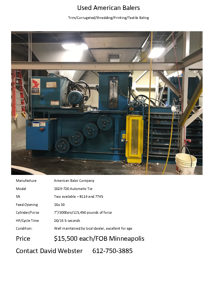 Used American Balers; model 30290720 automatic tie