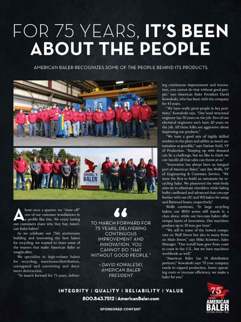 Article about American Baler Company's 75th year in the business