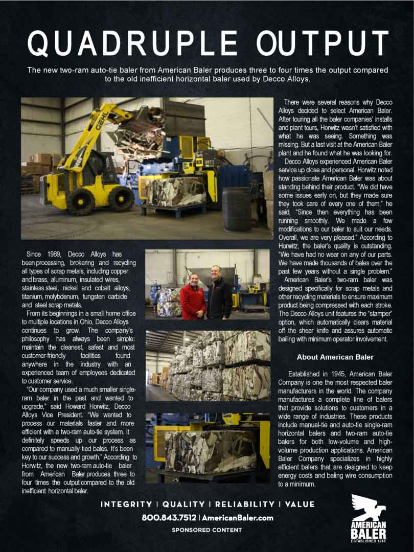 Article about the two-ram auto-tie baler used by Decco Alloys